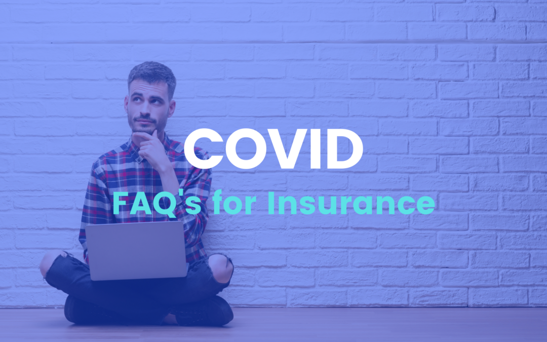 Insurance Questions for COVID blog post. Man sitting thinking against white brick wall with laptop. | Beneficial Insurance Brokers